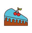 birthdat piece cake berries sweet tasty food vector image