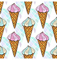 Blue and pink ice creams seamless pattern bright vector image