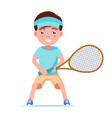 boy tennis player standing with a racket vector image vector image