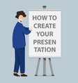 businessman and presentation screen board cartoon vector image