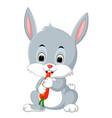 cartoon happy rabbit eating carrot vector image vector image
