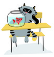 cat sitting on the chair and looking on the fish vector image