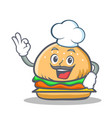 chef burger character fast food vector image vector image