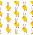 chicken with bunny ears seamless pattern vector image vector image