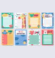 childish planners cute nursery notebook sheets vector image