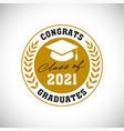 class 2021 congrats graduates wreath logo vector image vector image