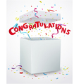 Congratulations message box with confetti vector image vector image
