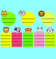 cute animals tags vector image