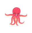cute six-tentacled octopus with smiling face vector image