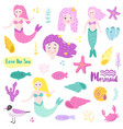 cute underwater creatures elements with mermaid vector image