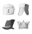 design of headgear and cap sign set of vector image vector image