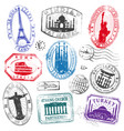 famous monument travel stamps set1 vector image