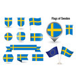 flag sweden big set icons and symbols vector image vector image
