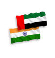 flags india and united arab emirates on a white