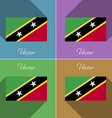 Flags Saint Kitts Nevis Set of colors flat design vector image