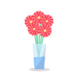 flowers glass vase icon decorative element vector image
