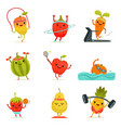 funny fruits make fitness exercises vector image