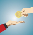 Hand giving bitcoin vector image