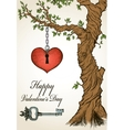 Handdrawn valentine card with tree and heart vector image vector image