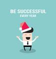happy businessman in santa claus hat merry vector image