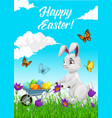 happy easter holiday poster with rabbit and eggs vector image