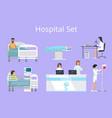 hospital set doctors patients vector image vector image