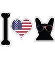 I love french bulldog with american symbols vector image