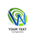 initial letter w logo template colored blue green vector image vector image