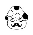 kawaii cute sleeping fungus with mustache vector image vector image