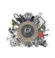 Many images of spare parts vector image vector image