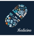 Medical flat icons in a pill shape vector image vector image
