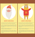 merry christmas banners santa and bear set vector image vector image