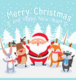 merry christmas cartoon greeting card happy xmas vector image