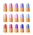 Nail polish in different hues vector image vector image