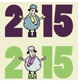 New 2015 year card with cartoon sheep vector image vector image