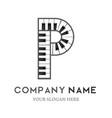 p letter logo design piano keyboard logo vector image vector image