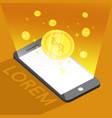phone and coin or money background graphic vector image