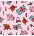 Pink Holiday Christmas Gingerbread Houses vector image vector image