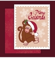 Santa Monkey Christmas Greeting Card vector image