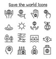 save the world icon set in thin line style vector image