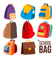 school bag set different types view vector image