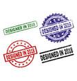scratched textured designed in 2018 stamp seals vector image vector image
