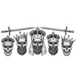 set skulls in crowns vector image vector image