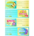 spring sale discount offer set vector image vector image