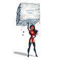 super woman raises a big boulder with text vector image