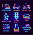 transport neon label set vector image