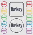 Turkey icon sign symbol on the Round and square vector image vector image