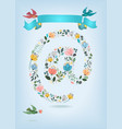 valentine card floral symbol of email and birds vector image