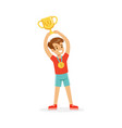 young athletes boy holding winner cup kid vector image