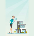 young caucasian woman looking for house vector image vector image